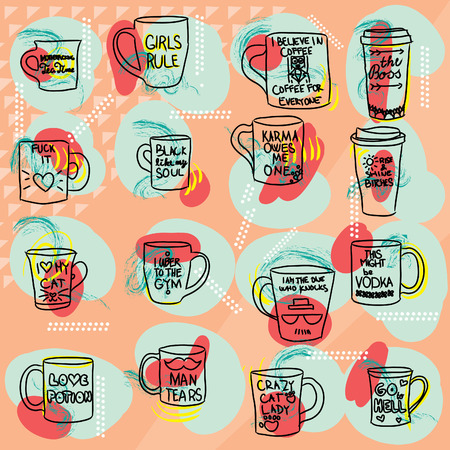 Mug with text set colorful large collection of  coffee and tea doodles: cups, mugs with quotes isolated on orange colored background. Lineart illustration.