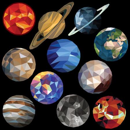 Sistema solar conjunto de colores estrellas de baja poli planeta y diseños aislados sobre fondo oscuro. ilustración. Colección en un estilo moderno. Foto de archivo - 62247000