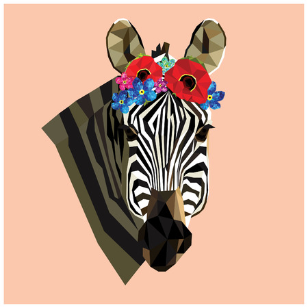 forget me not: Zebra head with a floral poppy and forget me not crown,colorful low poly design isolated on pink background.Animal portrait card design.Background with wild animal.illustration