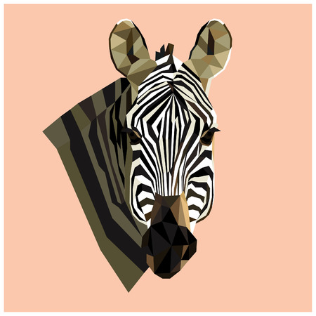 Zebra head colorful low poly design isolated on pink background with white outline. Animal portrait card design. Illustration