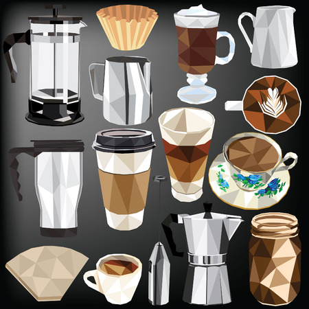 Coffee set colorful low poly designs isolated on dark background. illustration. Ilustração