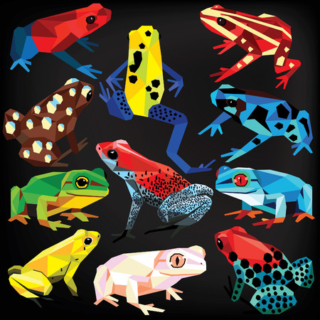Frogs set colorful low poly designs isolated on dark background. animals illustration.