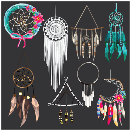 Dream catcher set colorful low poly designs isolated on dark background. illustration.