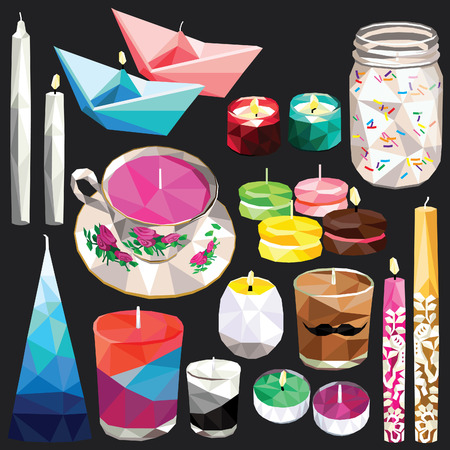 Candle set colorful low poly designs isolated on dark background. illustration.
