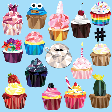 Cupcake and muffin set of 15 different colorful low poly designs isolated on light blue background. Stock Vector - 62247138