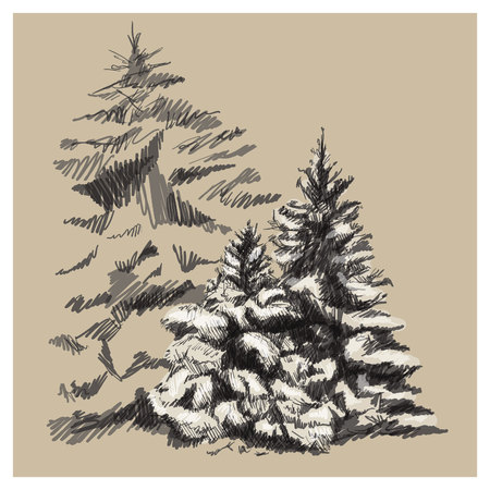 Hand drawn vector landscape art sketch. Trees with snow illustration isolated on light brown background.