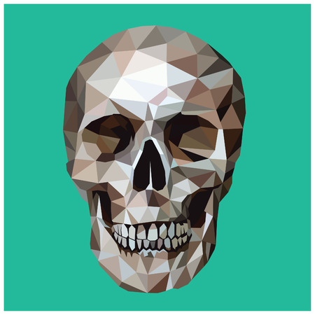 Skull colorful low poly design isolated on turquoise background with white outline. Scary portrait card design. Ilustração