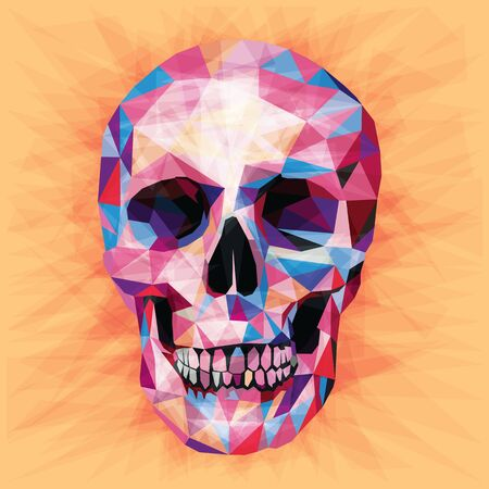 Skull colorful low poly design isolated on peach background with triangular shapes. Scary portrait card design in a modern style. Illustration