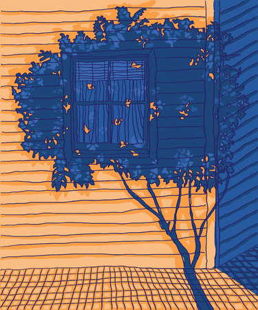 Hand drawn vector exterior colorful art sketch design. Building with window illustration. Orange light shining onto walls. Shades of blue shadows.
