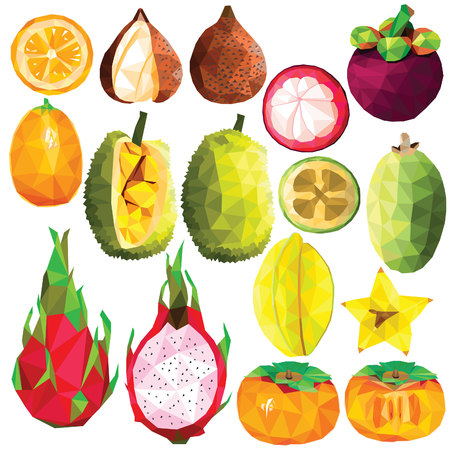 Exotic fruit set colorful low poly designs isolated on white background. Vector edible food illustration. Collection of full and cut in half tropical plants in modern style. Organic raw wild fruits. Illustration