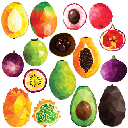 Exotic fruit set colorful low poly designs isolated on white background. Vector edible food illustration. Collection of full and cut in half tropical plants in modern style. Organic raw wild fruits. Ilustração