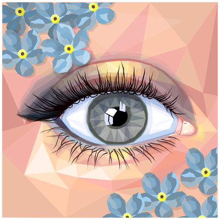 Human eye card colorful realistic low poly design. Vector illustration of blue eye with grey contact lense. Classic smokey eye makeup with real light blue flowers. Unique look in a modern style. Illustration