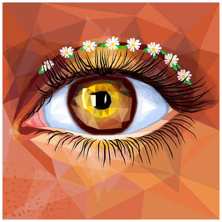 Human eye card colorful realistic low poly design. Vector illustration of brown eye with gold contact lense. floral cut crease makeup with freckles. Boho chic inspired unique look in a modern style.