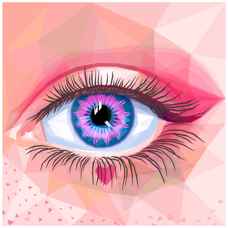 Human eye card colorful realistic low poly design. Vector illustration of blue eye with pink contact lense. Sweet makeup with pink heart and freckles. Candy inspired unique makeup in a modern style. Ilustração
