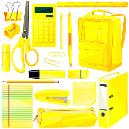 Back to school low poly set isolated on white background. Yellow colorful polygonal illustration of first day school supplies. University materials for learning. Office equipment in bright color. Stock Vector - 120243262
