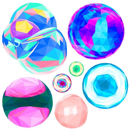 Bubble set low poly on white background. Different colorful polygonal illustration of bubbles for stress relief, summer fun. Rainbow ultraviolet reflections on glass, soap and gum textured bubbles. Stock Vector - 120278813