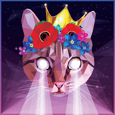 Ultraviolet vaporwave synthwave cat with a floral poppies, forget me nots and golden crown, colorful 80s - 90s low poly design. Animal portrait creative postmodernism card artwork in night landscape. Ilustração