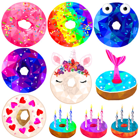 Donut set colorful low poly designs isolated on white background. Vector illustration of sweet dessert snack in modern style. Donut collection.