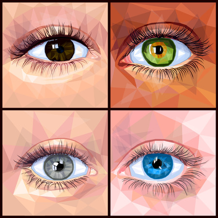 Human eye set colorful realistic low poly designs isolated on dark background. Vector illustration of different eye and skin colors. Collection in a modern style. Stock Vector - 120278823