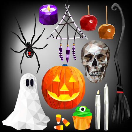 Halloween themed set colorful low poly designs isolated on dark background. Vector holiday illustration in modern style. Stock Vector - 120278821