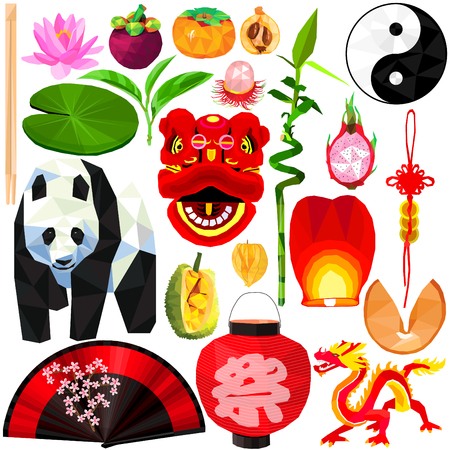 Asian culture set colorful low poly designs isolated on white background. Vector chinese stuff illustration. Collection of local China traditional celebrations and everyday things in modern style. Illustration