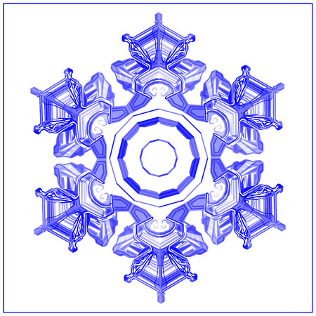 Snowflake realistic detailed low poly design isolated on white background. Vector winter illustration in modern style.