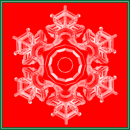 Snowflake low poly christmas design isolated on red and green background. Vector winter holiday illustration in modern style. Ilustração