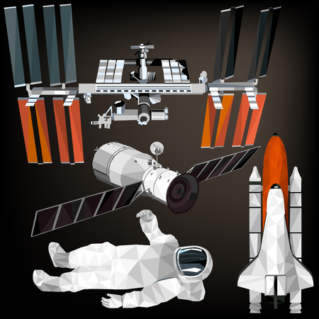 Space set colorful astronaut, space shuttle, space station low poly designs isolated on dark background. Vector illustration. Collection in a modern style. Illustration