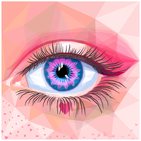Human eye card colorful realistic low poly design. Vector illustration of blue eye with pink contact lense. Sweet makeup with pink heart and freckles. Candy inspired unique makeup in a modern style.