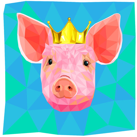 Pig with a golden crown,colorful low poly design on blue background.Animal portrait card design. Background with wild animal.Vector illustration year of the earth pig, happy Chinese new year. Ilustração