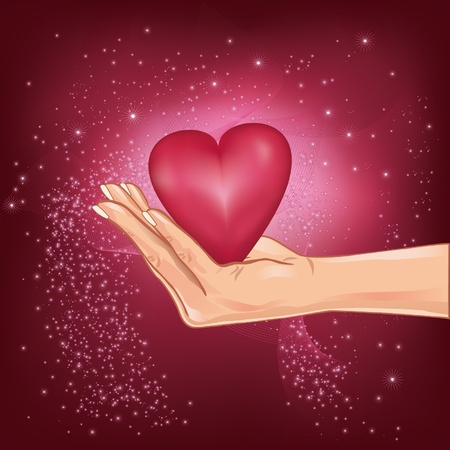 caring hands: Illustration of hand holding a hot heart with falling stars, for Valentine