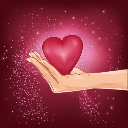 day care: Illustrazione di mano che regge un cuore caldo con stelle cadenti, per San Valentino Vettoriali