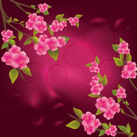 Bright red background with  beautiful cherry blossoms decorated with curls  Vector illustration  EPS 10 Vector