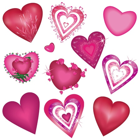 Set of beautiful decorative hearts for Valentine Vector
