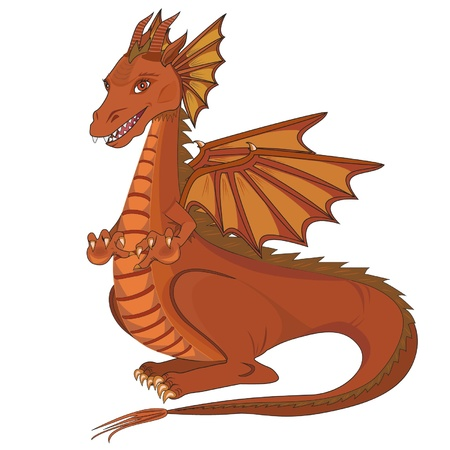 Smiling  cute cartoon dragon on a white  background .Vector illustration Vector