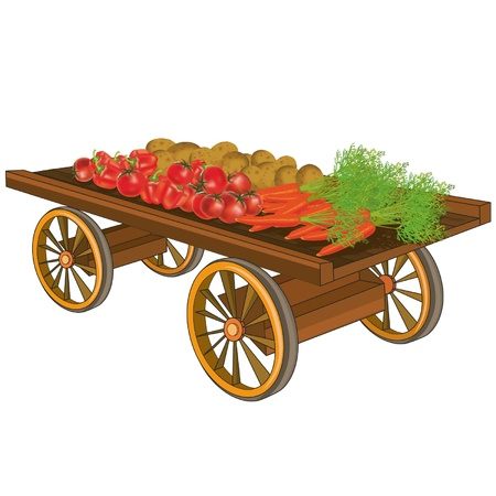 carreta madera: Carro de madera con verduras, tomates, pimientos rojos, patatas, zanahorias, en el fondo blanco. Ilustración del vector.