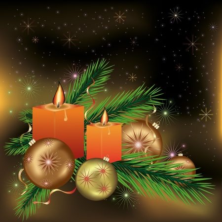 Bright festive New year and Christmas postcard  with candles, branches of a fir-tree, christmas balls, stars and snowflakes. Vector illustration. Vector