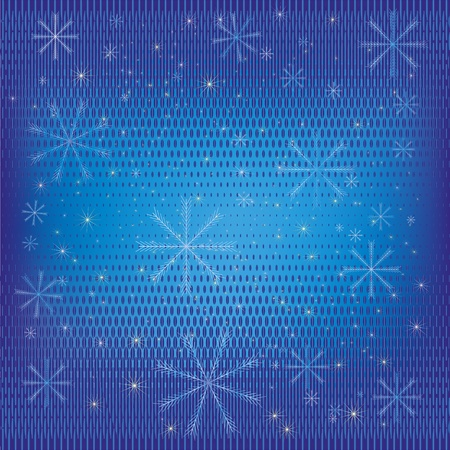 Abstract winter background blue with a pattern, snowflakes and stars. Vector illustration Stock Vector - 11942134