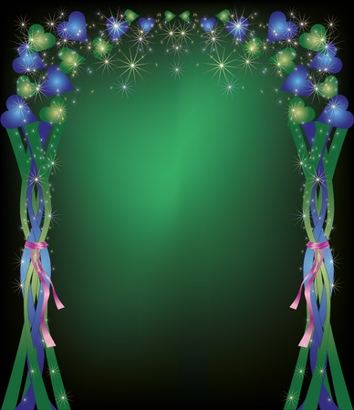 colorful  celebratory  background, decorated with blue and green hearts, stars and ribbons Vector