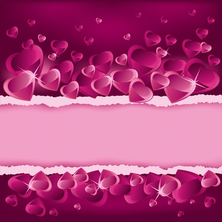 Valentines Day background with hearts and place for text Vector