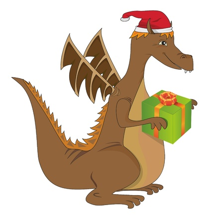 jolly dragon with christmas present Vector