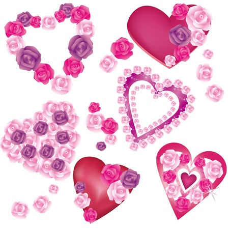 Set of beautiful decorative hearts with roses for Valentines day, wedding  isolated on a white background,vector . Vector