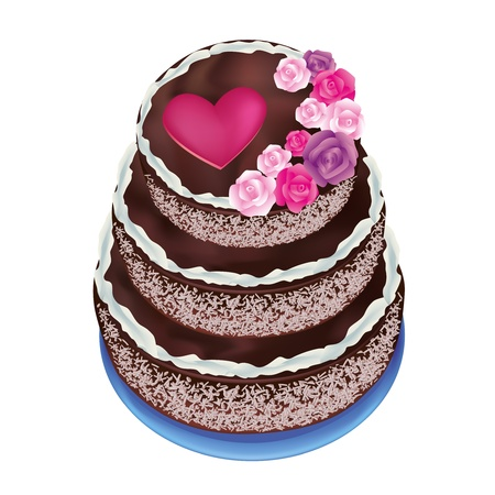 cake with icing: Illustration of a celebratory cake with roses and heart for life events-  Valentine