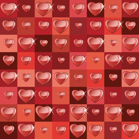 Background with squares and hearts Vector