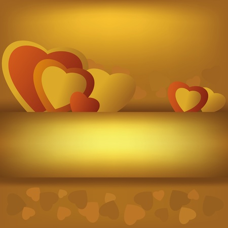 golden heart: Abstract  golden  background with hearts for Valentines Day, vector Illustration