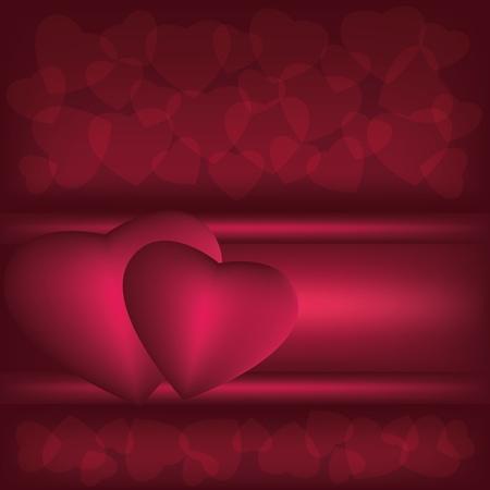 velvet ribbon: Abstract  dark red background with hearts, vector illustration Illustration