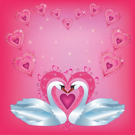 Valentines  Day card  with two white swans Vector