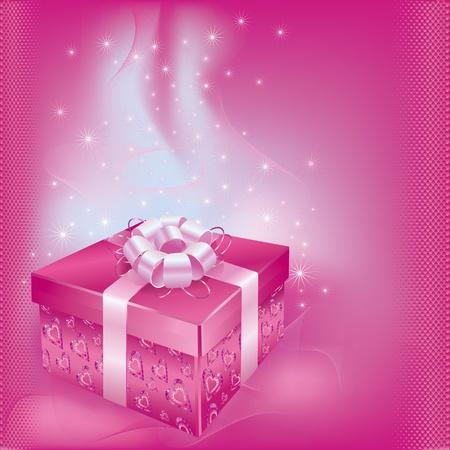 ライフ イベントのベクトル図のギフト ボックスとピンクの酷似に装飾明るいお祝いカード  イラスト・ベクター素材