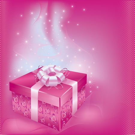 Bright festive card with gift box and decorations on pink bacground for life events  Vector illustration