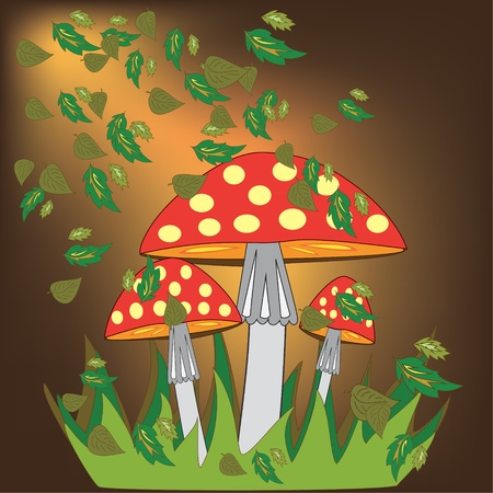 Fly agaric with autumn leaves Vector